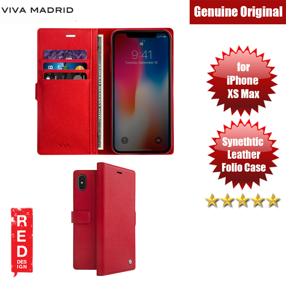 Picture of Viva Madrid HEXE Synthetic Leather with TPU Wallet Folio Case for Apple iPhone XS Max (Red) Apple iPhone XS Max- Apple iPhone XS Max Cases, Apple iPhone XS Max Covers, iPad Cases and a wide selection of Apple iPhone XS Max Accessories in Malaysia, Sabah, Sarawak and Singapore