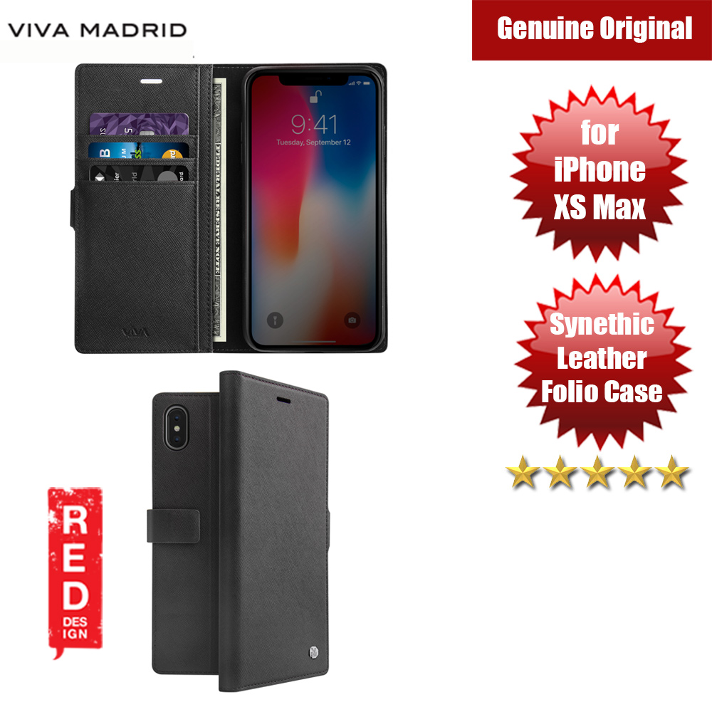 Picture of Viva Madrid HEXE Synthetic Leather with TPU Wallet Folio Case for Apple iPhone XS Max (Black) Apple iPhone XS Max- Apple iPhone XS Max Cases, Apple iPhone XS Max Covers, iPad Cases and a wide selection of Apple iPhone XS Max Accessories in Malaysia, Sabah, Sarawak and Singapore