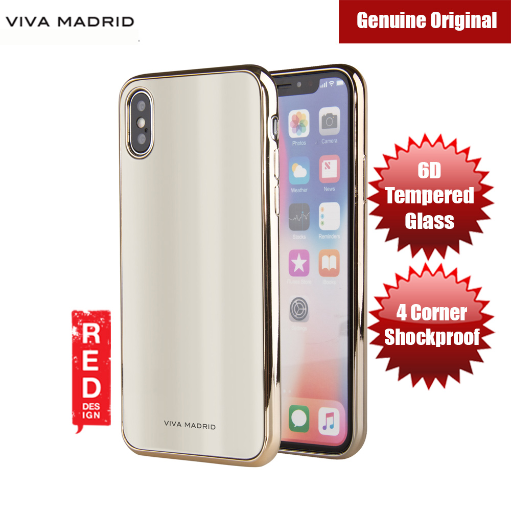 Picture of Viva Madrid Vaso Tempered Glass Protection Case for Apple iPhone X (Gold) Apple iPhone X- Apple iPhone X Cases, Apple iPhone X Covers, iPad Cases and a wide selection of Apple iPhone X Accessories in Malaysia, Sabah, Sarawak and Singapore