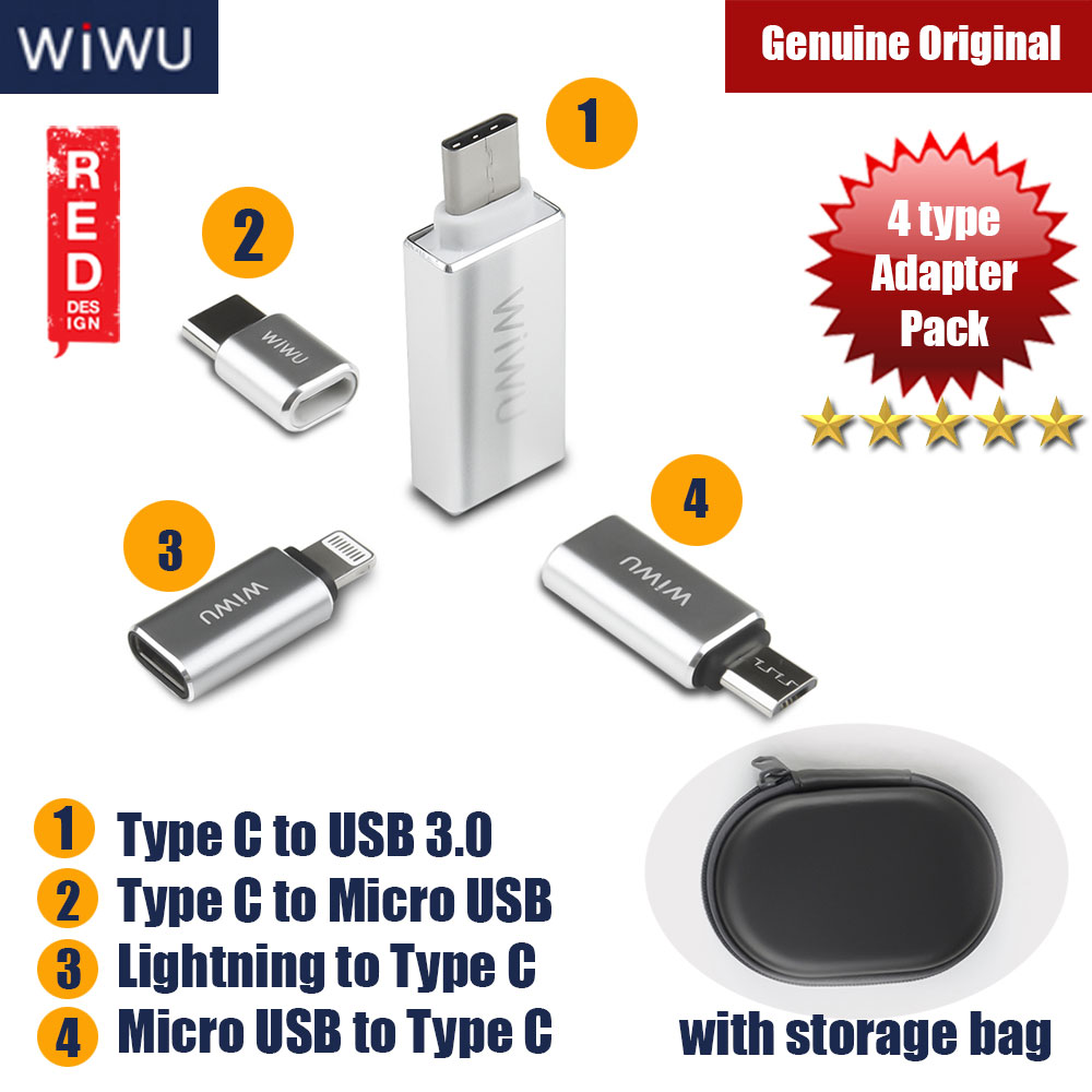 Picture of Wiwu Type C Converters Adapter Pack (4pcs Type) Red Design- Red Design Cases, Red Design Covers, iPad Cases and a wide selection of Red Design Accessories in Malaysia, Sabah, Sarawak and Singapore