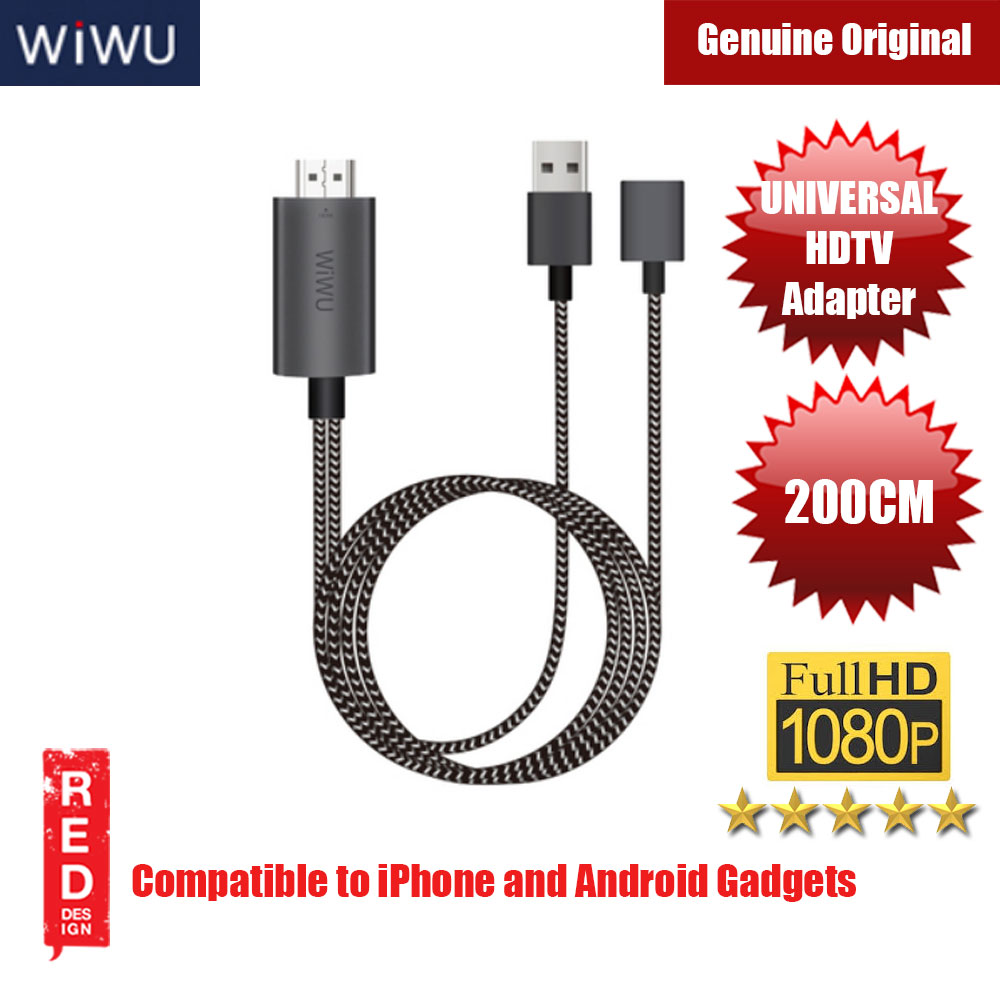 Picture of WIWU UNIVERSAL HDMI Cable Ultra HD 1080P 4k Charging HDTV Video Cable Adapter Converter for iPhone and Android Gadgets Red Design- Red Design Cases, Red Design Covers, iPad Cases and a wide selection of Red Design Accessories in Malaysia, Sabah, Sarawak and Singapore
