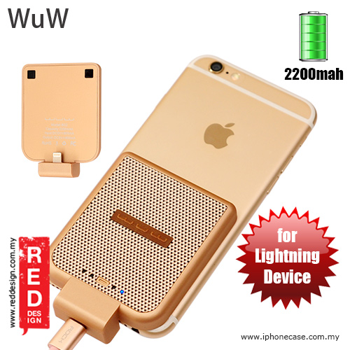 Picture of WUW Power Pack iPhone SE iPhone 6S iPhone 6S Plus iPhone 7 iPhone 7 Plus External Power Bank Back Clip 2200 mah - Gold Red Design- Red Design Cases, Red Design Covers, iPad Cases and a wide selection of Red Design Accessories in Malaysia, Sabah, Sarawak and Singapore