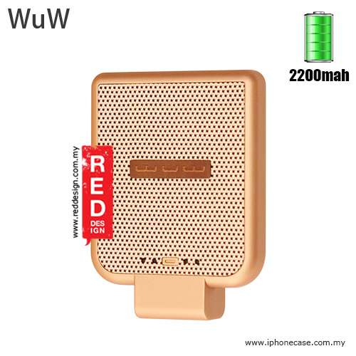 Picture of WUW Power Pack iPhone SE iPhone 6S iPhone 6S Plus iPhone 7 iPhone 7 Plus External Power Bank Back Clip 2200 mah - Gold