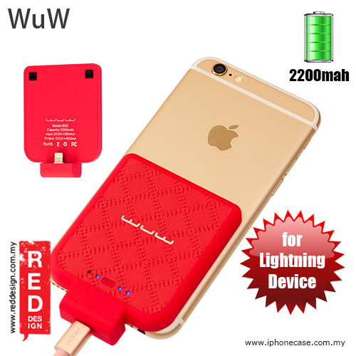 Picture of WUW Power Pack iPhone SE iPhone 6S iPhone 6S Plus iPhone 7 iPhone 7 Plus External Power Bank Back Clip 2200 mah - Red