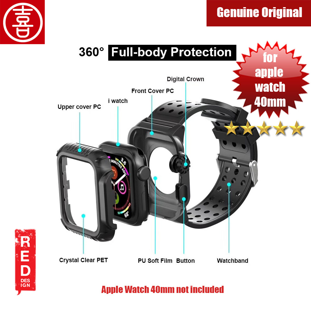 Picture of Xi 360 Degree Protection Case with Strap for Apple Watch 40mm (Black) Apple Watch 40mm- Apple Watch 40mm Cases, Apple Watch 40mm Covers, iPad Cases and a wide selection of Apple Watch 40mm Accessories in Malaysia, Sabah, Sarawak and Singapore