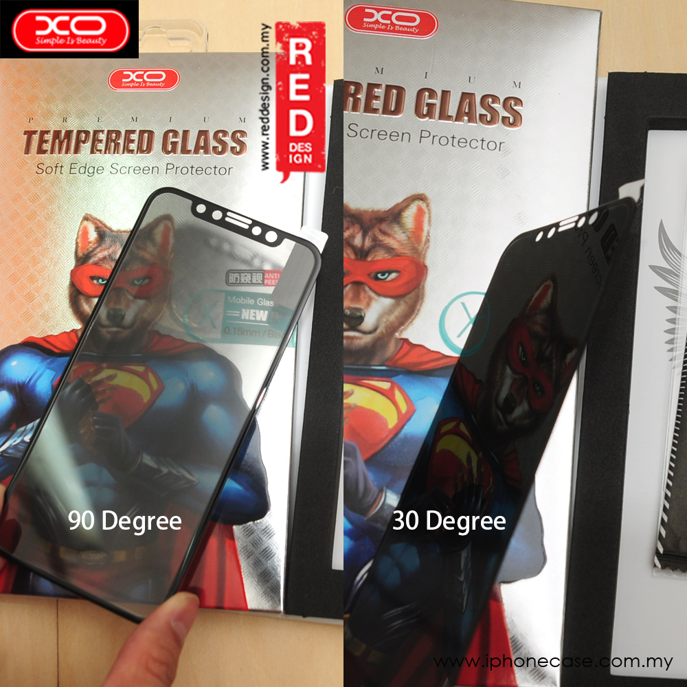 Picture of Apple iPhone X  | XO Anti View Ultra Thin Full Screen Tempered Glass for Apple iPhone X PET Soft 3D Curve 0.15 mm (Black Privacy)