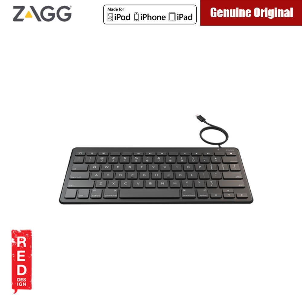 Picture of Apple iPad 9.7 2017  | ZAGG MFI Certified Lightning Wired Full Size Keyboard  for iPhone iPad (Black)